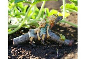 Miniatura Casa de Muñecas Fairy Jardín - Doble Pixies Napping en Árbol Tronco -