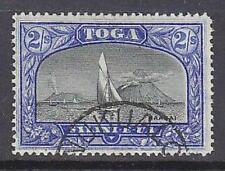Tonga Pacific Islands SG 51 2/- black and ultramarine ship boat yacht Fine used