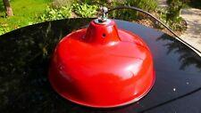 Lampe Abat Jour Industriel Suspension Métal Tôle émaillée Rouge Atelier Usine