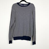 J Crew Factory Men's Striped White And Navy Knit Sweater Size XL