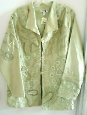 COLDWATER CREEK Women's SILK Jacket PL Sage Green Embroidered NWT
