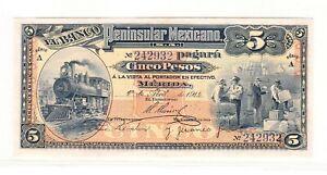 Mexico 5 Pesos El Banco Peninsular Mexicano 1914 - UNC