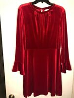 NWT $149 A Loves A Red Velour 3/4 Sleeve A-Line Dress Women's Size L