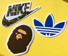 Nike Adidas Bape 3 Sticker Bundle Dope Hypebeast Skateboard Phone