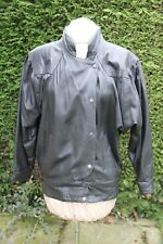 Black size 12 short leather jacket blouson style good condition Popper fasteners