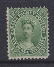 CANADA 1859 UNUSED SC #18 12&1/2c QUEEN VICTORIA CHALON YELLOW GREEN CAT $725