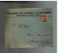 1921 Danzig Ostbank Cover to Germany Bank