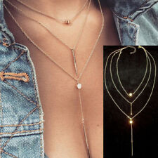 Three Layer Gold Lariat Necklace Choker Y Drop 3 Layer Chains Boho Simple
