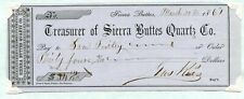 1861. Sierra City-Sierra Buttes, California.   Bank check.