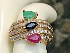 SIGNED 14K GOLD NATURAL DIAMOND, EMERALD,RUBY&SAPPHIRE RING 6.07 GRAMS
