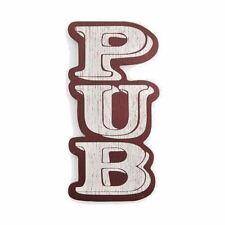"Wood Pub Sign Home Rec Room Bar Display Man Cave Beer Wine Spirits New Large 10"""