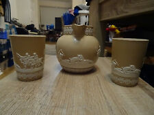 More details for rare antique copeland spode jasper ware stage hunting water jug & 2 x beakers