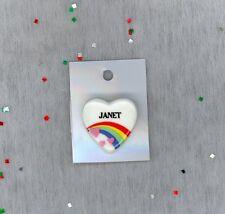 Rainbow & Hearts Fashion Pin Brooch Personalized JANET - Gift - Stocking Stuffer