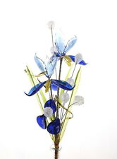 Magic Blue Crystal Glass Flower Lovely Decoration For Living Room Study Bedroom