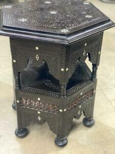 Antique, Handwork Carving Wood, Side Table, End Table, Inlaid Mother of Pearl