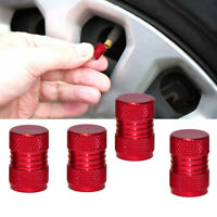 4 pcs Red Alloy Tyre Valve Dust Caps Cover For Car SUV Motorbike Bike Universal