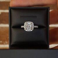 1.30ct cushion cut dvvs1 diamond halo engagement ring weedin 14k white gold over