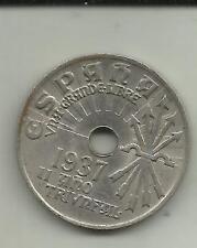 SPAIN 25 CENTIMOS 1937. FASCIST SIMBOL. CIVIL WAR. XF CONDITION. 3RW 13JUN