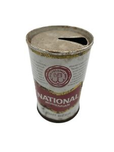 Vintage National Bohemian Beer Can Miniature Red On White RARE Pull Tab