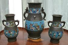 More details for an antique oriental 3x large cloisonne / champleve garniture vases c.early 20thc