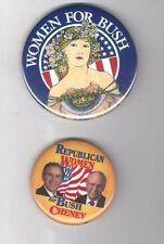 WOMEN for BUSH pinback 2 George W. BUSH & CHENEY pin 2000 Campaign button