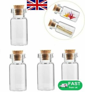 10/20x 2ml Mini Tiny Empty Clear Glass Jars Bottles Vials with Cork Stoppers UK