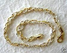 "Italy Sterling Silver & 14k Gold Ankle Bracelet 11"""