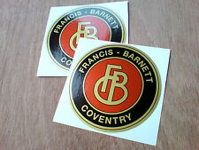 FRANCIS BARNETT Gold Vintage Classic Car Helmet Motorcycle Stickers 2 off 80mm