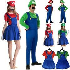 Adults Kids Super Mario Bros Luigi Party Cosplay Costume Fancy Dress Outfit Set
