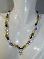 Amethyst Peridot Topaz Bead stretch Choker Necklace Sterling Lotus Flower 1c 1