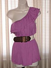 S/M Womens Girls Small Summer Sleeveless One-Shouller Ruffle Purple Belt Top