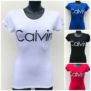 Ladies Women Casual Short Sleeve T-shirt with printed phrase Calvi Fitted Top
