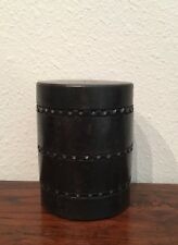 Turned, Carved, & Lidded Ebony Trinket Box African Carving, Drum-Shaped, Vintage