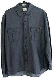 DrizaBone Mens Large Shirt Hardware Fit Longsleeve Button Up Blue And White