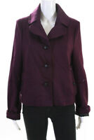 Ben Sherman Womens Two Button Notched Collar Coat Purple Wool Size Large