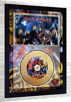 Iron Maiden The number of the Bea Mini Gold Vinyl CD Record Signed Framed Photo