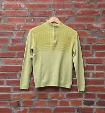 Vintage 90s Lime Green Chenille Pullover Mockneck Sweater Womens 1/2 Zip 1172
