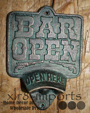 Cast Iron BAR OPEN Plaque OPEN HERE Beer Bottle Opener Rustic Western Wall Mount