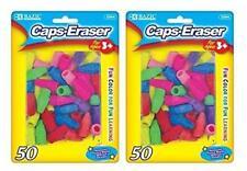2 Pk, Bazic Caps Eraser Assorted Colors, 50 Per Pack / Total of 100