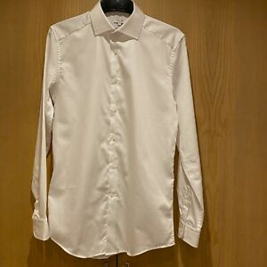 Mens Reiss Size S White Slim Fit 'Remote' Long Sleeve Shirt 100% Cotton Smart