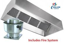 New 8 Ft Range Hood Exhaust Filter Kitchen Restaurant Commercial w/ Fire System