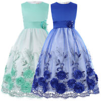 New Party Sleeveless Kids Blue Flower Girls Dress - Age 2 3 4 5 6 7 8 9 10 11 12