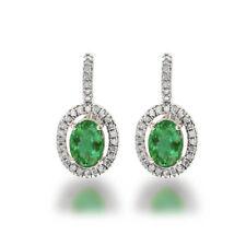 Colombian Emerald & Diamond Oval Cut Halo Dangle Earring Solid 14k  White Gold