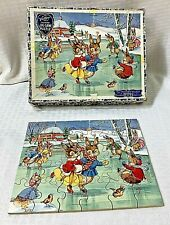Vintage Victory Wooden Jigsaw Puzzle Bunnies Skating Made In England