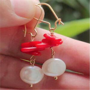 White Baroque Pearl Earring 18k Gold Ear Drop Hook Hoop Gift Fashion Dangle