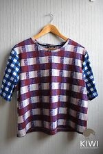 Topshop Scoop Neck Checked Cropped Tops & Shirts for Women