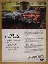 1973 Lincoln Continental Mark IV & Town Car photo vintage print Ad
