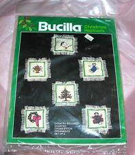 VTG BUCILLA COUNTED CROSS STITCH CRAFT KIT COUNTRY SQUARES SET 6 XMAS ORNAMENTS