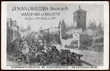 cartolina militare GENOVA CAVALLERIA DRAGONI DEL RE ANNIV.DEL BRICCHETTO 1910