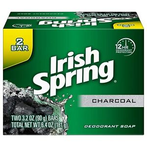 Irish Spring Charcoal Soap, FOUR 2-Bar Packs (8 total) 3.2oz per Bar New Sealed